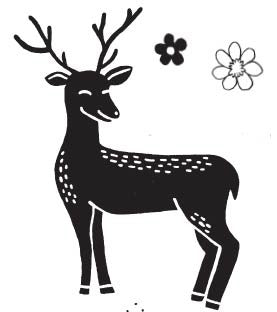 Deer with flowers on side stamp (1570I)