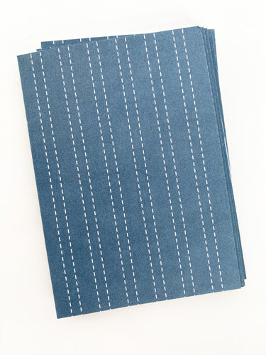 Patterned Note Card - Navy Stripes