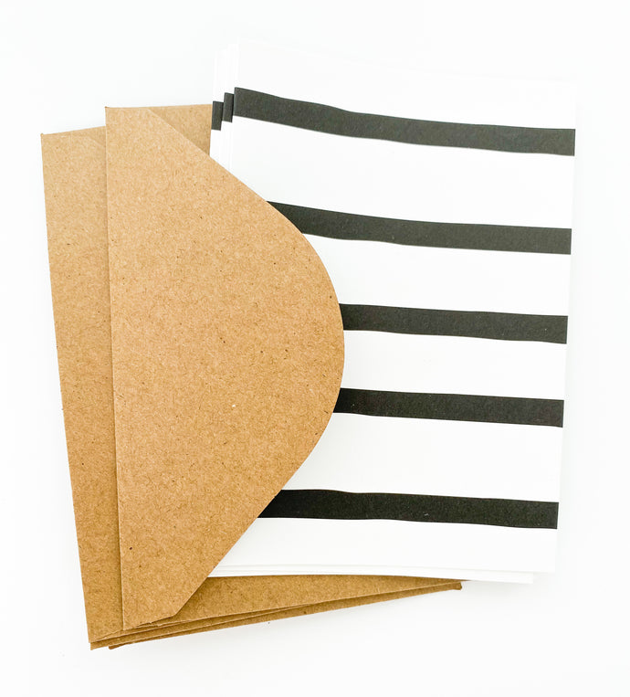 Patterned Note Card - Black Stripe (with envelopes)