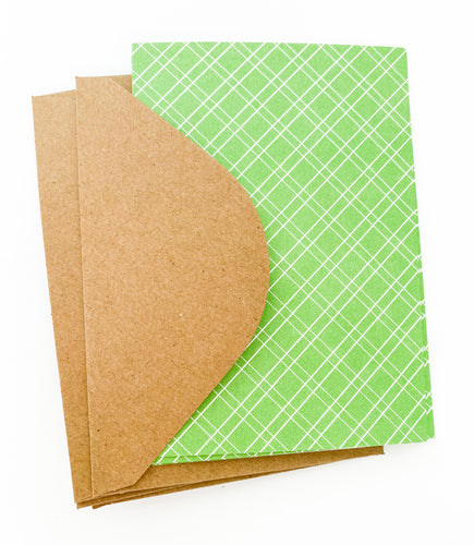 Patterned Note Cards - Apple Green (with envelopes)