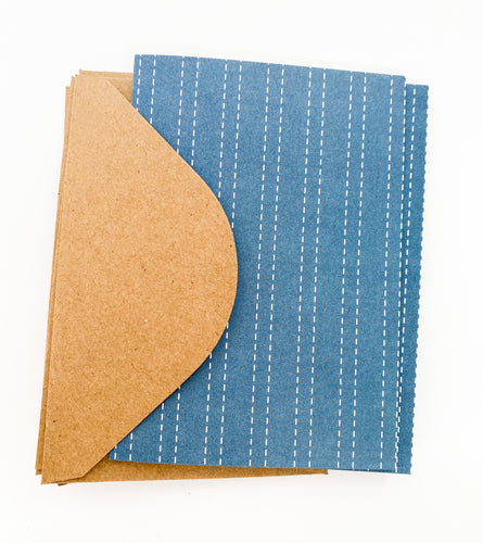 Patterned Note Card - Navy Stripes (with envelopes)