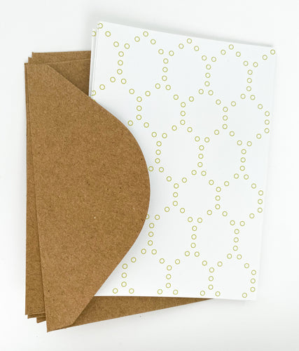 Patterned Note Card - Sage Hexagon (with envelopes)