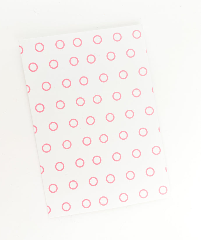Patterned Note Card - Pink Open Dot