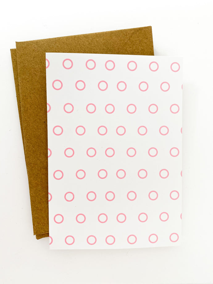 Patterned Note Card - Pink Open Dot (with envelopes)