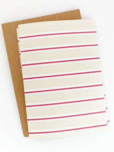 Patterned Note Card - Light Birch & Red Stripe (with envelopes)