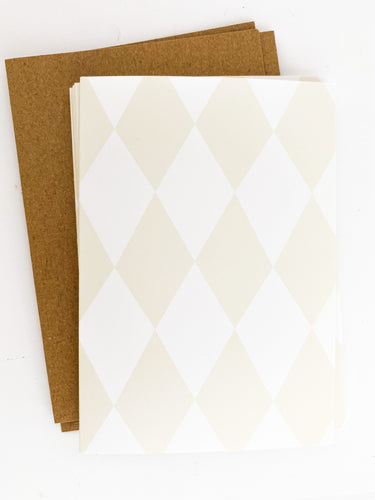 Patterned Note Cards - Light Birch Diamond (with envelopes)