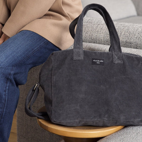 Sauval le city bag - Collection velours - Gris