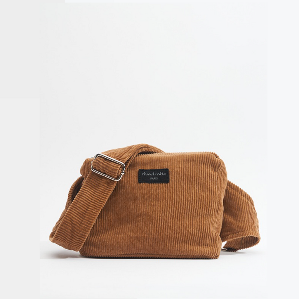"Sac banane Rachel - Collection velours - Camel ""Sweet Tobacco"""