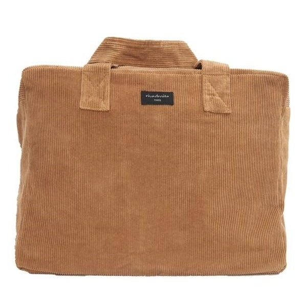 "Sac 24h Célestin - Collection velours - Camel ""Sweet Tobacco"""