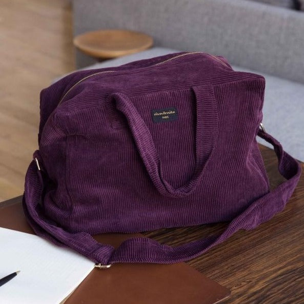 "Sauval le city bag - Collection velours - Bordeaux ""Scarlett red"""