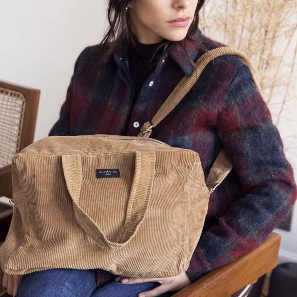 "Sauval le city bag - Collection velours - Camel ""Sweet Tobacco"""