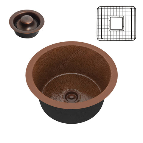 Thrace Drop-in Handmade Copper 17 in. 0-Hole Single Bowl Kitchen Sink in Hammered Antique Copper