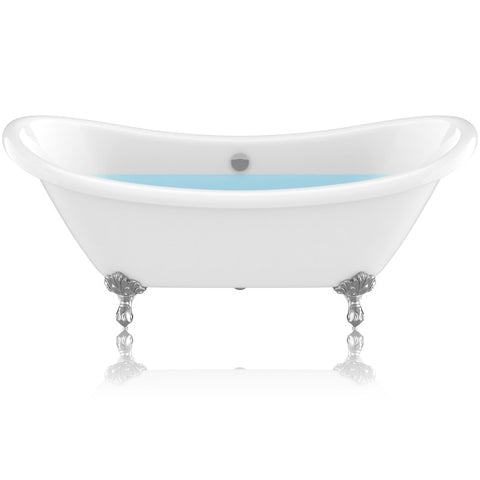 "69.29"" Belissima Double Slipper Acrylic Claw Foot Tub in White"