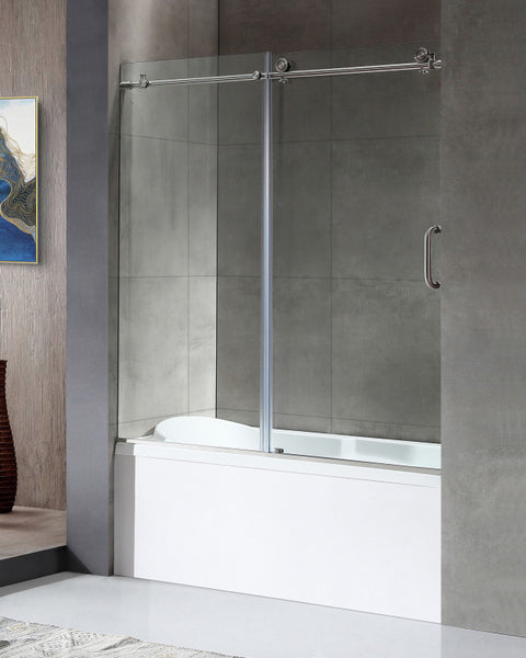 Raymore Series 59 in. x 62 in. Frameless Sliding Tub Door in Brushed Nickel