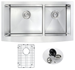 Elysian Series 33 in. Farm House 60/40 Dual Basin Handmade Stainless Steel Kitchen Sink