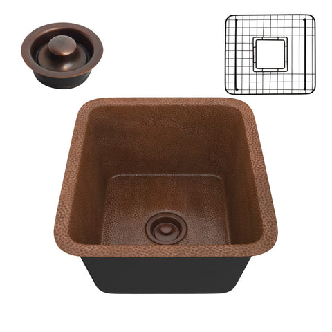Aquileia Drop-in Handmade Copper 17 in. 0-Hole Single Bowl Kitchen Sink in Hammered Antique Copper