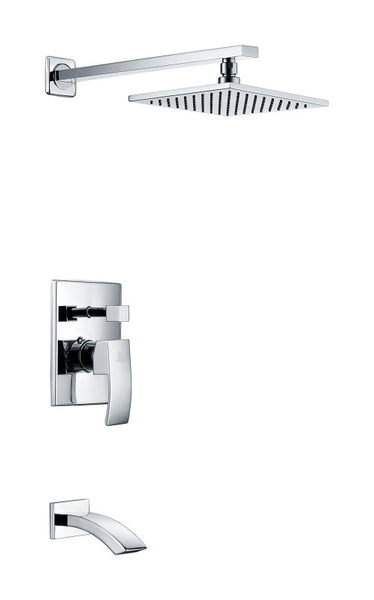 Spirito Series Single Handle Wall Mounted Showerhead and Bath Faucet Set in Polished Chrome