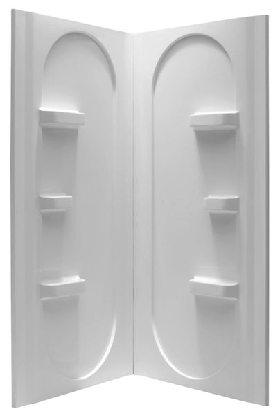 Mishra 38 in. x 38 in. x 75 in. 2-piece DIY Friendly Corner Shower Surround in White
