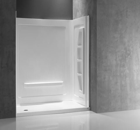 Rose 60 in. x 36 in. x 74 in. 3-piece DIY Friendly Alcove Shower Surround in White