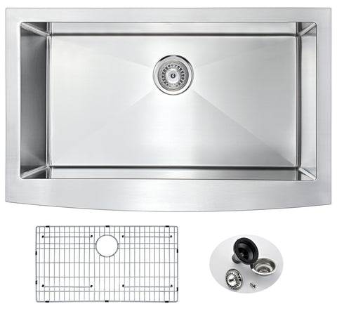 Elysian Farmhouse Stainless Steel 32 in. 0-Hole Single Bowl Kitchen Sink in Brushed Satin