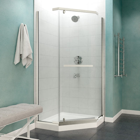 Castle Series 49 in. x 72 in. Semi-Frameless Shower Door with TSUNAMI GUARD in Brushed Nickel
