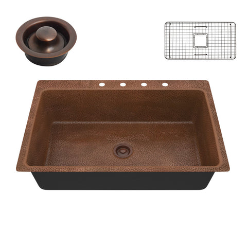 Lydia Drop-in Handmade Copper 33 in. 4-Hole Single Bowl Kitchen Sink in Hammered Antique Copper