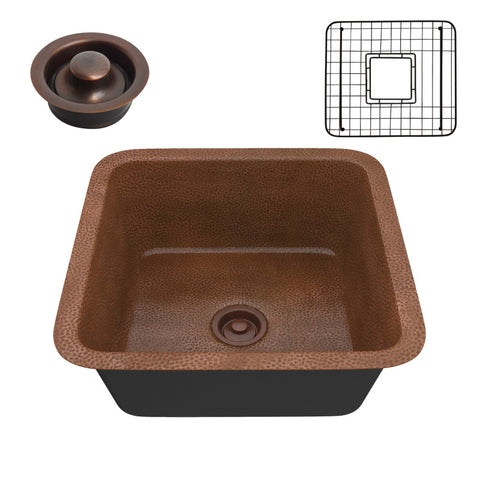Malta Drop-in Handmade Copper 19 in. 0-Hole Single Bowl Kitchen Sink in Hammered Antique Copper