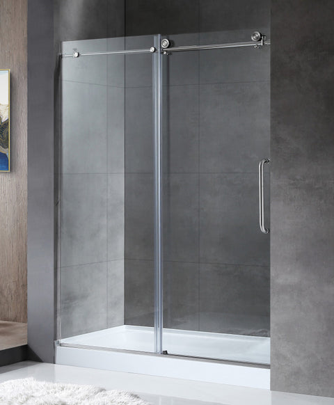 Leon Series 48 in. by 76 in. Frameless Sliding Shower Door in Brushed Nickel with Handle