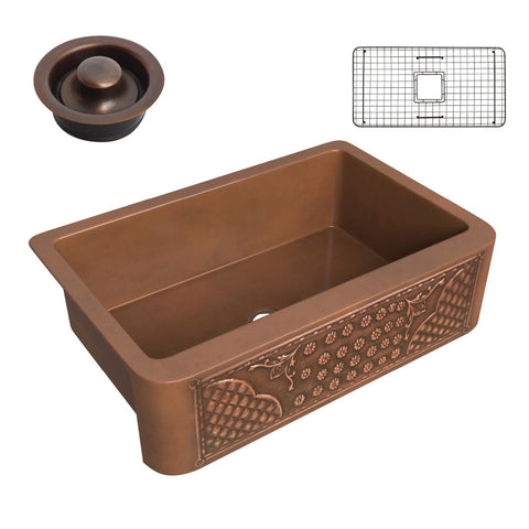 Macedonian Farmhouse Handmade Copper 33 in. 0-Hole Single Bowl Kitchen Sink with Flower Bed Design Panel in Polished Antique Copper