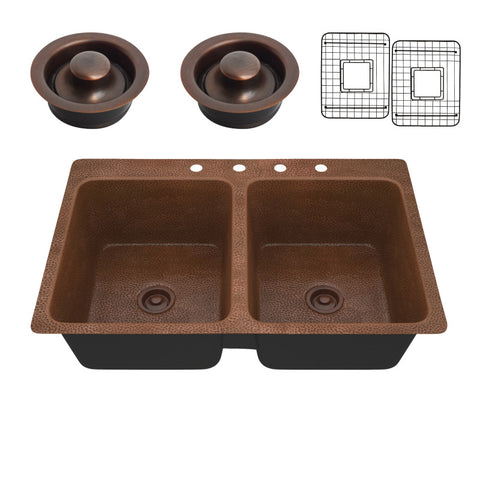 Elen Drop-in Handmade Copper 33 in. 4-Hole 50/50 Double Bowl Kitchen Sink in Hammered Antique Copper