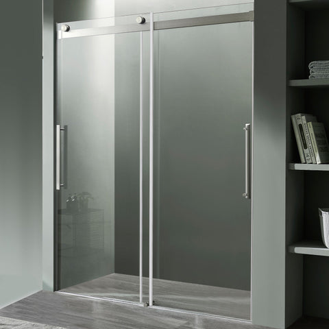 Stellar Series 60 in. x 76 in. Frameless Sliding Shower Door with Handle in Brushed Nickel