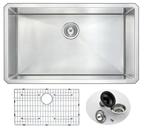 Vanguard Undermount Stainless Steel 32 in. 0-Hole Single Bowl Kitchen Sink in Brushed Satin