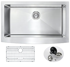 Elysian Series Farmhouse Stainless Steel 36 in. 0-Hole Single Bowl Kitchen Sink