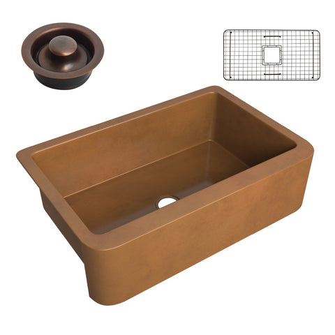 Cyprus Farmhouse Handmade Copper 33 in. 0-Hole Single Bowl Kitchen Sink in Polished Antique Copper