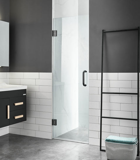 Fellow Series 24 in. by 72 in. Frameless Hinged Shower Door in Matte Black with Handle
