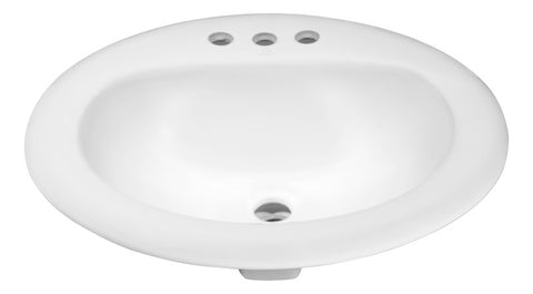 Cadenza Series 20.5 in. Ceramic Drop In Sink Basin in White