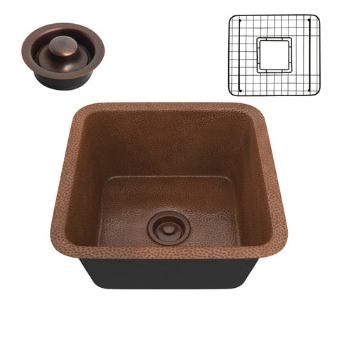 Illyrian Drop-in Handmade Copper 16 in. 0-Hole Single Bowl Kitchen Sink in Hammered Antique Copper