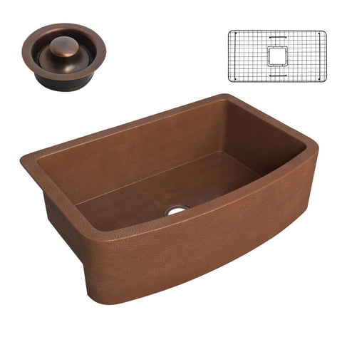 Pieria Farmhouse Handmade Copper 33 in. 0-Hole Single Bowl Kitchen Sink in Hammered Antique Copper