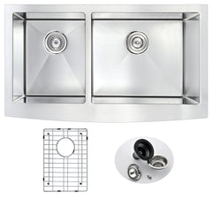 Elysian Series 36 in. Farm House 40/60 Dual Basin Handmade Stainless Steel Kitchen Sink