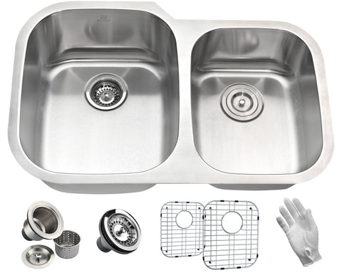 Moore Undermount Stainless Steel 32 in. 0-Hole 60/40 Double Bowl Kitchen Sink in Brushed Satin