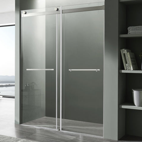 Kahn Series 60 in. x 76 in. Frameless Sliding Shower Door with Horizontal Handle in Brushed Nickel
