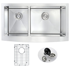 Elysian Series 33 in. Farm House 40/60 Dual Basin Handmade Stainless Steel Kitchen Sink