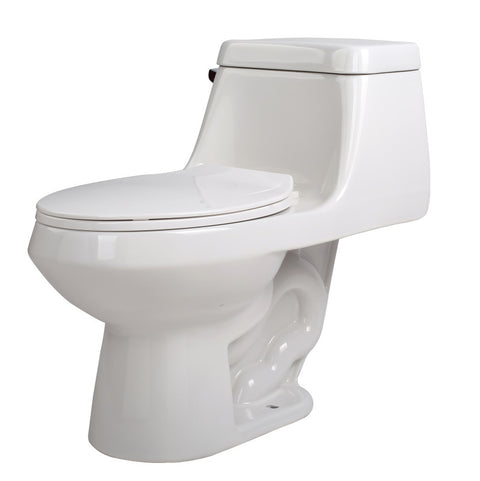 Zeus 1-piece 1.28 GPF Single Flush Elongated Toilet in White