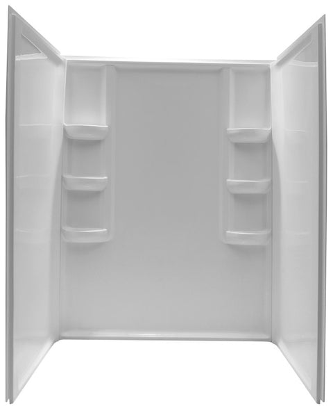 Vasu 60 in. x 36 in. x 74 in. 3-piece DIY Friendly Alcove Shower Surround in White