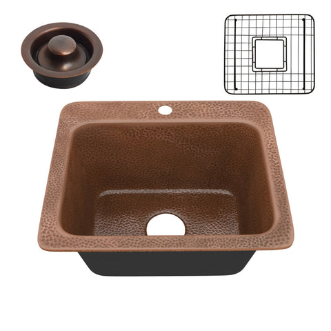 Manisa Drop-in Handmade Copper 18 in. 1-Hole Single Bowl Kitchen Sink in Hammered Antique Copper