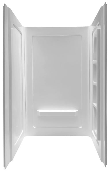 Rose 48 in. x 36 in. x 74 in. 3-piece DIY Friendly Alcove Shower Surround in White