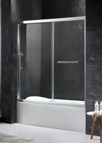Keep Series Left Side 60.43 in. x 59.06 in. Framed Sliding Tub Door in Brushed Nickel with Handle