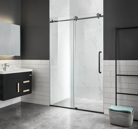 Madam Series 48 in. by 76 in. Frameless Sliding Shower Door in Matte Black with Handle
