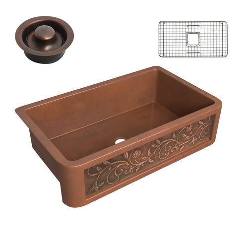 Mytilene Farmhouse Handmade Copper 36 in. 0-Hole Single Bowl Kitchen Sink with Floral Design Panel in Polished Antique Copper