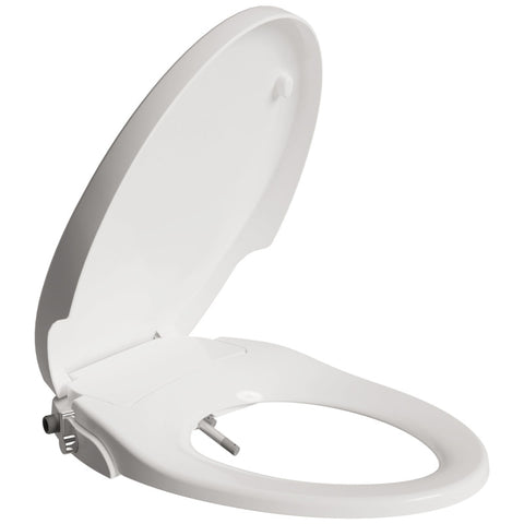 Hal Series Non-Electric Bidet Seat for Elongated Toilet in White with Dual Nozzle, Built-In Side Lever and Soft Close
